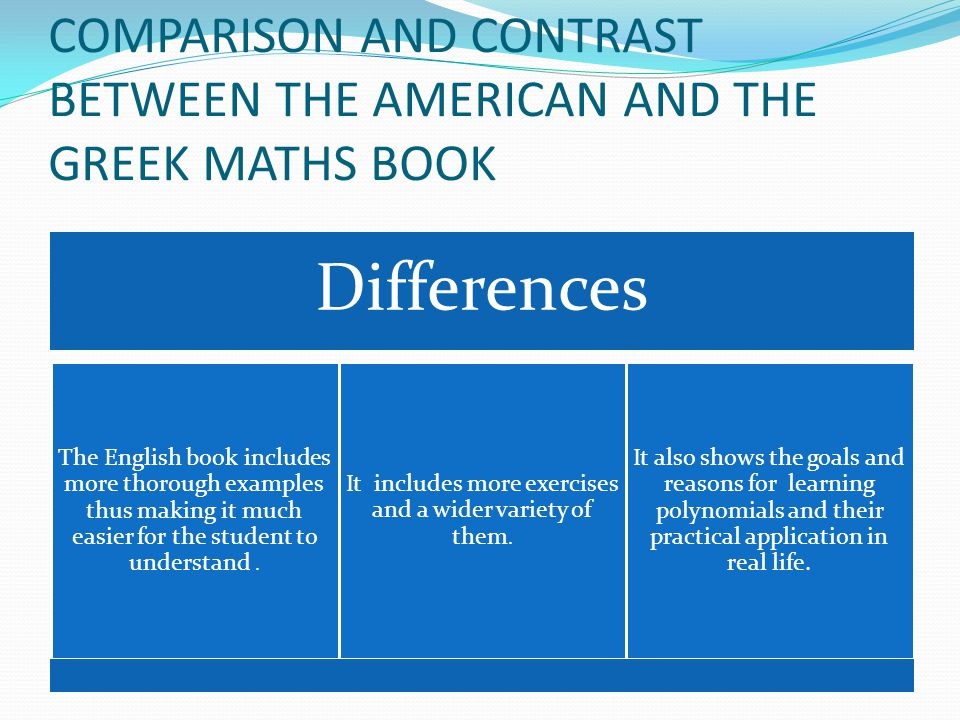 COMPARISON AND CONTRAST BETWEEN THE AMERICAN AND THE GREEK MATHS BOOK Differences The English book includes more thorough examples thus making it much easier for the student to understand.