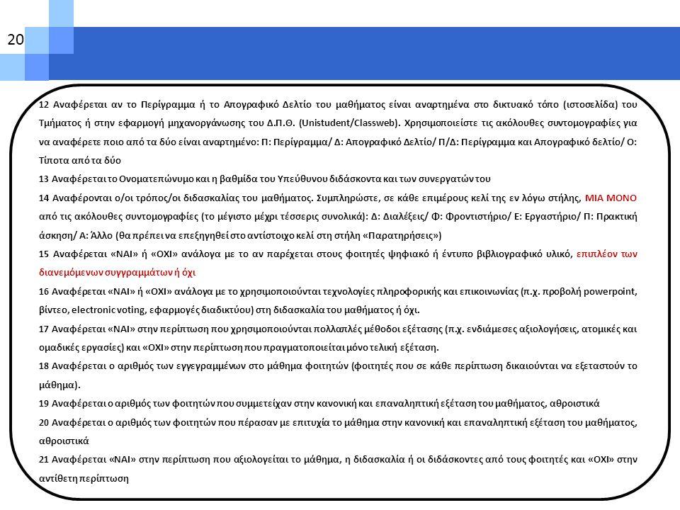 12 Αναφέρεται αν το Περίγραμμα ή το Απογραφικό Δελτίο του μαθήματος είναι αναρτημένα στο δικτυακό τόπο (ιστοσελίδα) του Τμήματος ή στην εφαρμογή μηχαν