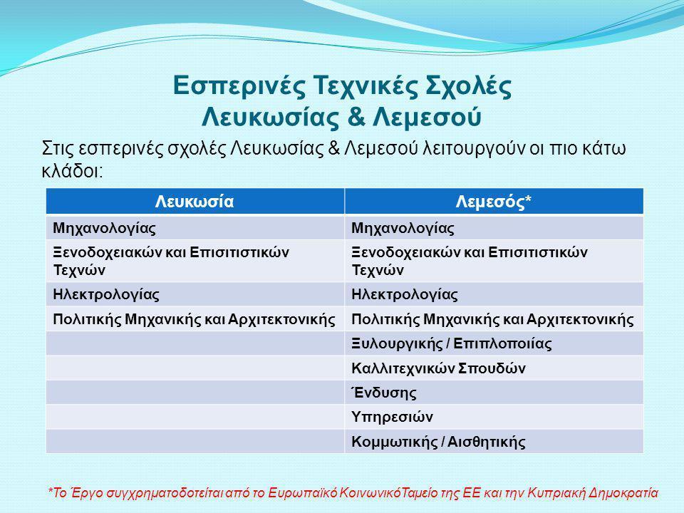 Εσπερινές Τεχνικές Σχολές Λευκωσίας & Λεμεσού Στις εσπερινές σχολές Λευκωσίας & Λεμεσού λειτουργούν οι πιο κάτω κλάδοι: ΛευκωσίαΛεμεσός* Μηχανολογίας Ξενοδοχειακών και Επισιτιστικών Τεχνών Ηλεκτρολογίας Πολιτικής Μηχανικής και Αρχιτεκτονικής Ξυλουργικής / Επιπλοποιίας Καλλιτεχνικών Σπουδών Ένδυσης Υπηρεσιών Κομμωτικής / Αισθητικής *Το Έργο συγχρηματοδοτείται από το Ευρωπαϊκό ΚοινωνικόΤαμείο της ΕΕ και την Κυπριακή Δημοκρατία
