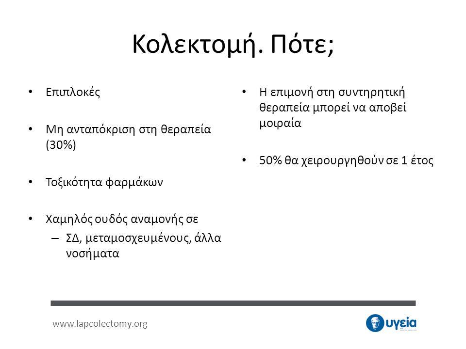 www.lapcolectomy.org Κολεκτομή. Πότε; • Επιπλοκές • Μη ανταπόκριση στη θεραπεία (30%) • Τοξικότητα φαρμάκων • Χαμηλός ουδός αναμονής σε – ΣΔ, μεταμοσχ