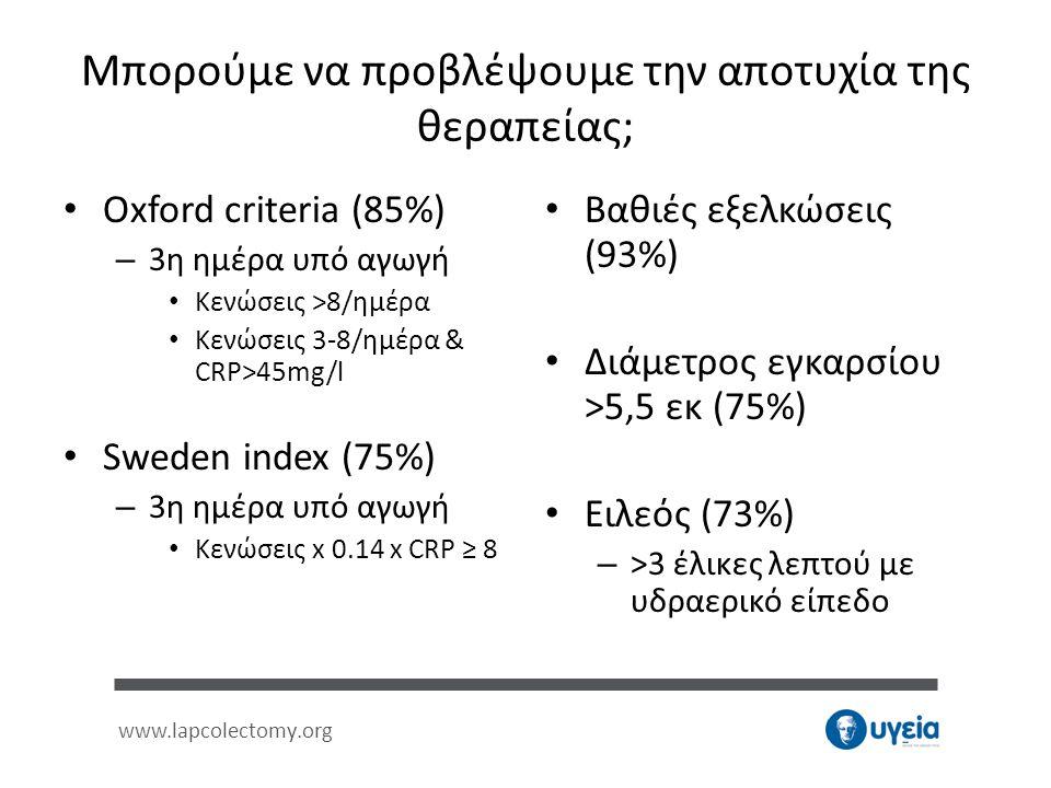 www.lapcolectomy.org Μπορούμε να προβλέψουμε την αποτυχία της θεραπείας; • Oxford criteria (85%) – 3η ημέρα υπό αγωγή • Κενώσεις >8/ημέρα • Κενώσεις 3