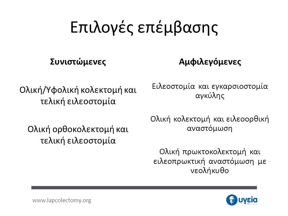 www.lapcolectomy.org Επιλογές επέμβασης Συνιστώμενες Ολική/Υφολική κολεκτομή και τελική ειλεοστομία Ολική ορθοκολεκτομή και τελική ειλεοστομία Αμφιλεγ