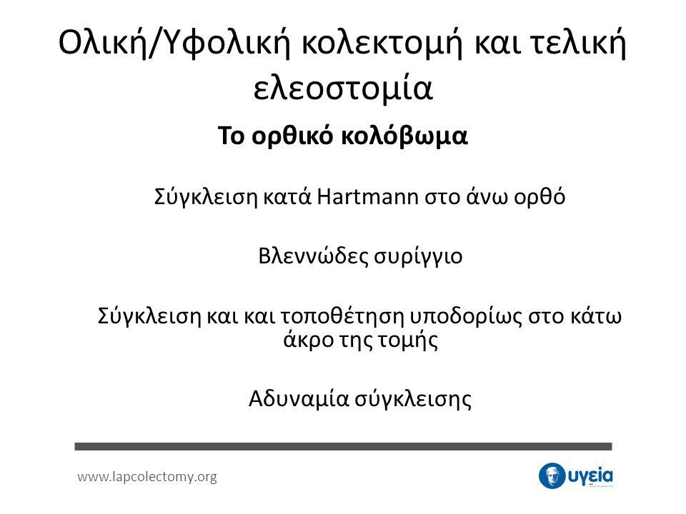 www.lapcolectomy.org Ολική/Υφολική κολεκτομή και τελική ελεοστομία Το ορθικό κολόβωμα Σύγκλειση κατά Hartmann στο άνω ορθό Βλεννώδες συρίγγιο Σύγκλεισ