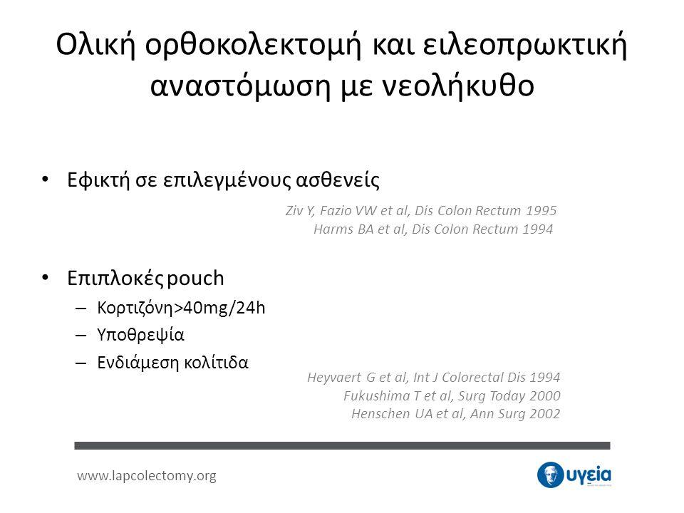 www.lapcolectomy.org Ολική ορθοκολεκτομή και ειλεοπρωκτική αναστόμωση με νεολήκυθο • Εφικτή σε επιλεγμένους ασθενείς • Επιπλοκές pouch – Κορτιζόνη>40m
