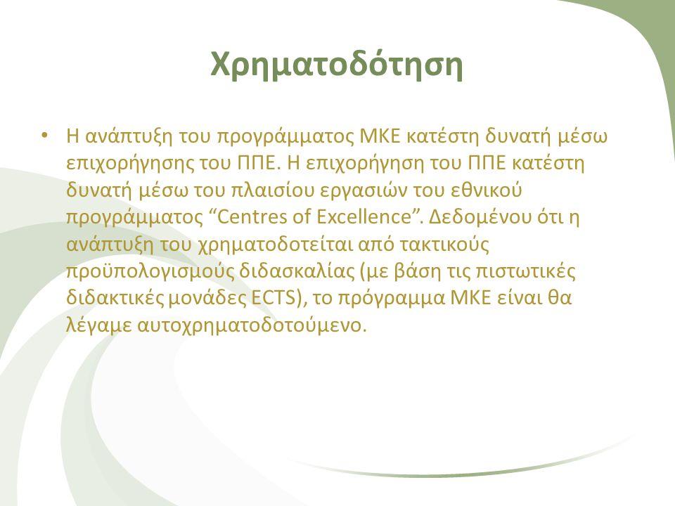Χρηματοδότηση • Η ανάπτυξη του προγράμματος ΜΚΕ κατέστη δυνατή μέσω επιχορήγησης του ΠΠΕ. Η επιχορήγηση του ΠΠΕ κατέστη δυνατή μέσω του πλαισίου εργασ
