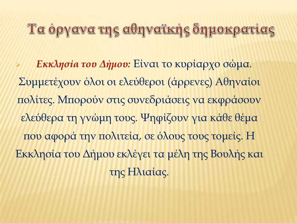  Εκκλησία του Δήμου: Είναι το κυρίαρχο σώμα. Συμμετέχουν όλοι οι ελεύθεροι (άρρενες) Αθηναίοι πολίτες. Μπορούν στις συνεδριάσεις να εκφράσουν ελεύθερ