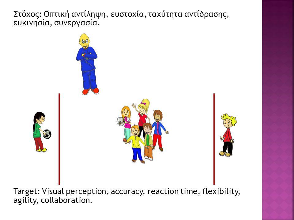 Στόχος: Οπτική αντίληψη, ευστοχία, ταχύτητα αντίδρασης, ευκινησία, συνεργασία. Target: Visual perception, accuracy, reaction time, flexibility, agilit