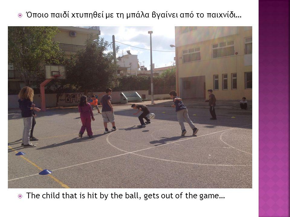  Όποιο παιδί χτυπηθεί με τη μπάλα βγαίνει από το παιχνίδι…  The child that is hit by the ball, gets out of the game…