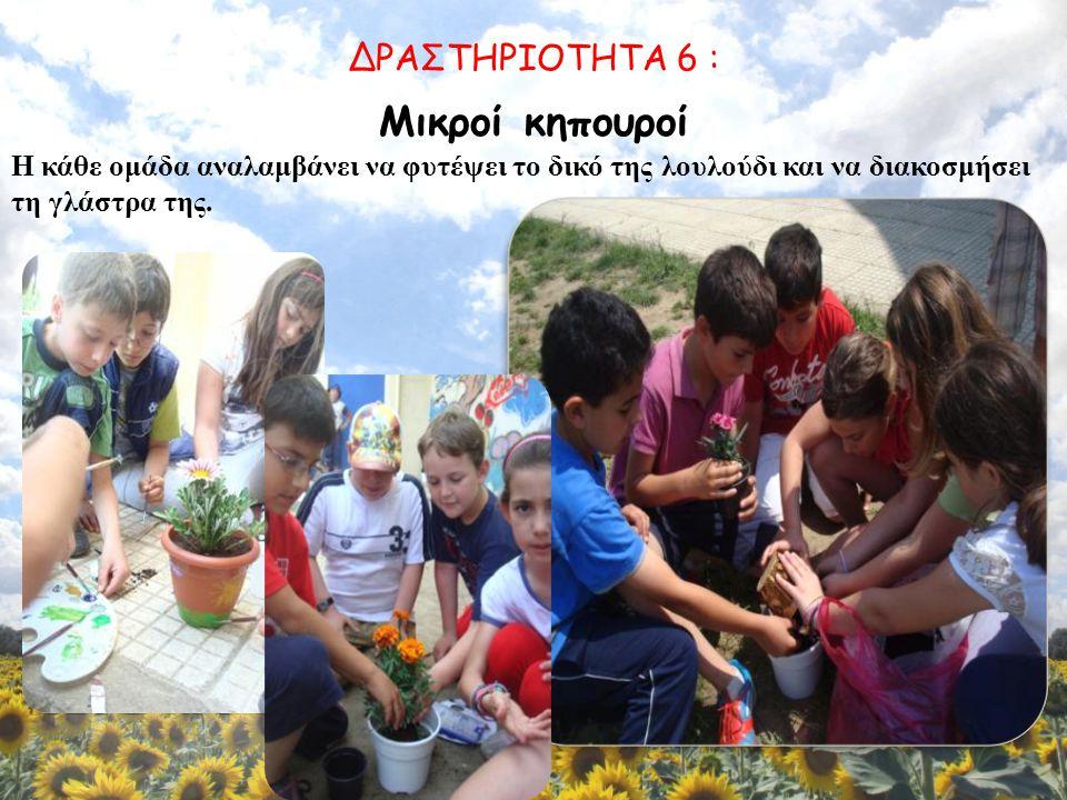 Μικροί κηπουροί Η κάθε ομάδα αναλαμβάνει να φυτέψει το δικό της λουλούδι και να διακοσμήσει τη γλάστρα της.
