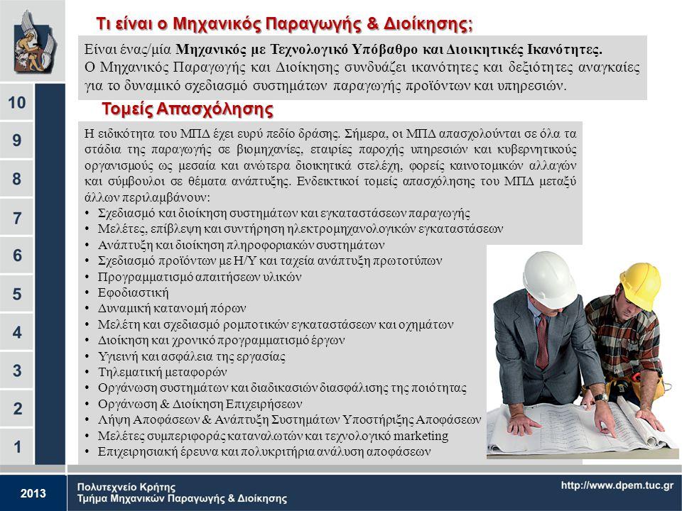 2013 Σπουδές στο Τμήμα Μηχανικών Παραγωγής & Διοίκησης και μελλοντικές επαγγελματικές προοπτικές Ευάγγελος Γρηγορούδης Επίκουρος Καθηγητής Ιστορική αν