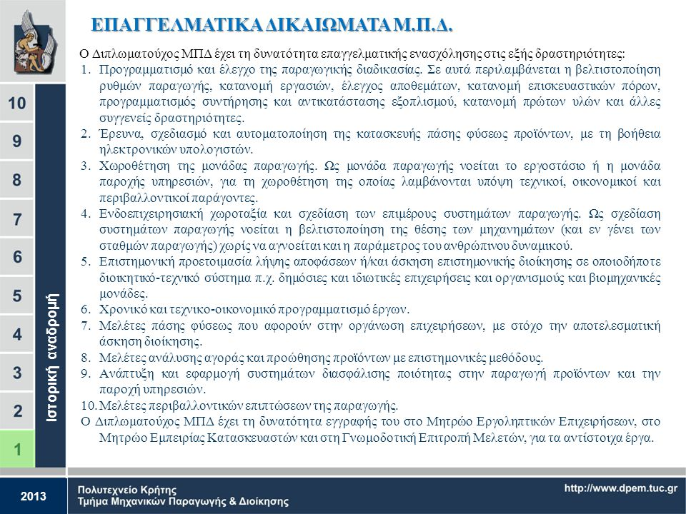 2013 1983: Εγκρίνεται η λειτουργία του Τμήματος, το οποίο είναι το πρώτο που ιδρύθηκε στην Ελλάδα για να καλύψει τις ανάγκες των εγχώριων βιομηχανιών