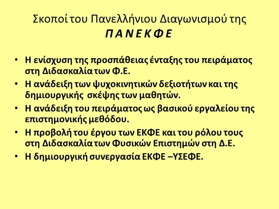 Σκοποί του Πανελλήνιου Διαγωνισμού της ΠΑΝΕΚΦΕ • Η ενίσχυση της προσπάθειας ένταξης του πειράματος στη Διδασκαλία των Φ.Ε. • Η ανάδειξη των ψυχοκινητι