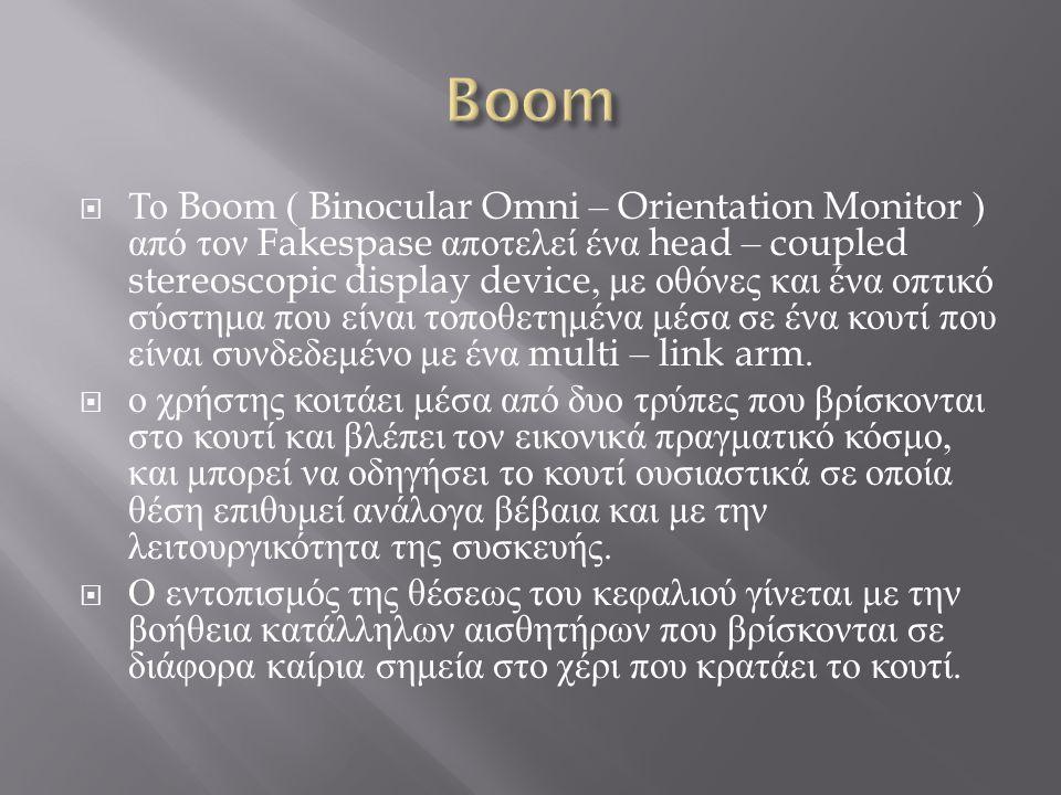  Το Boom ( Binocular Omni – Orientation Monitor ) από τον Fakespase αποτελεί ένα head – coupled stereoscopic display device, με οθόνες και ένα οπτικό σύστημα που είναι τοποθετημένα μέσα σε ένα κουτί που είναι συνδεδεμένο με ένα multi – link arm.