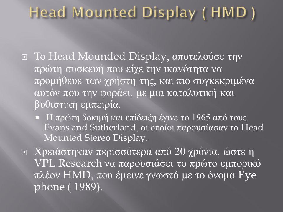  Ένα τυπικό HMD, περιλαμβάνεται από 2 πολύ μικρές οθόνες προβολής και ένα οπτικό σύστημα το οποίο εκπέμπει τις εικόνες από τις οθόνες στα μάτια καταφέρνοντας να παρουσιάσει μια σταθερή όψη ενός κόσμου εικονικής πραγματικότητας.