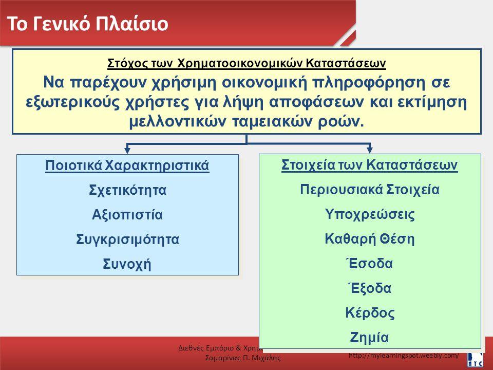 Το Γενικό Πλαίσιο Διεθνές Εμπόριο & Χρηματοοικονομικά Σαμαρίνας Π. Μιχάλης http://mylearningspot.weebly.com/ Ποιοτικά Χαρακτηριστικά Σχετικότητα Αξιοπ