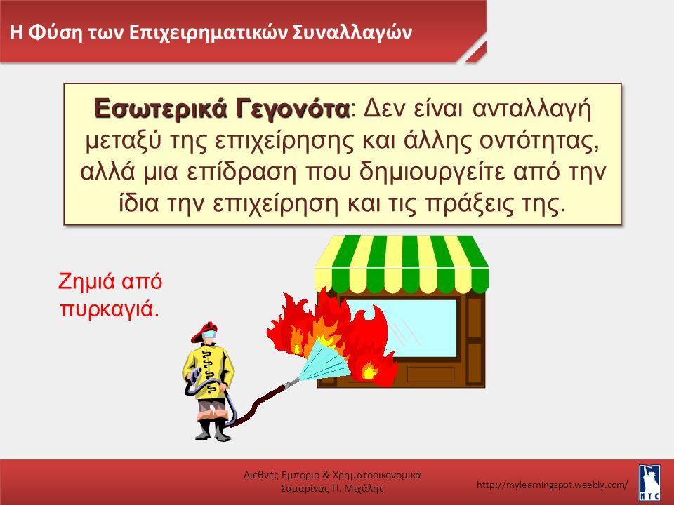 Η Φύση των Επιχειρηματικών Συναλλαγών Διεθνές Εμπόριο & Χρηματοοικονομικά Σαμαρίνας Π. Μιχάλης http://mylearningspot.weebly.com/ Εσωτερικά Γεγονότα Εσ