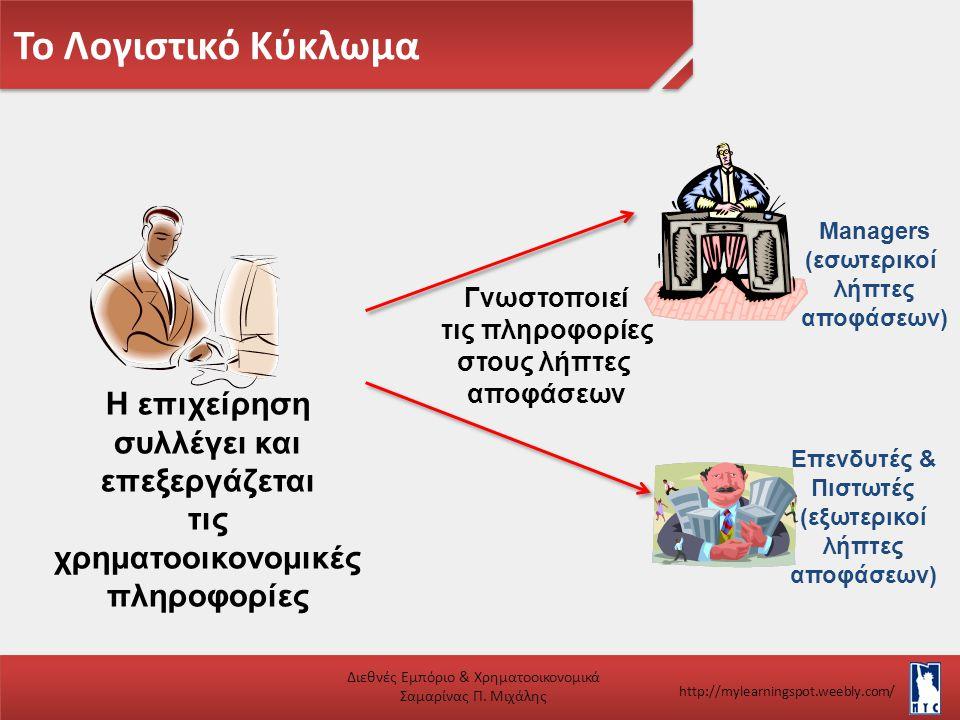 Το Λογιστικό Κύκλωμα Διεθνές Εμπόριο & Χρηματοοικονομικά Σαμαρίνας Π. Μιχάλης http://mylearningspot.weebly.com/ Η επιχείρηση συλλέγει και επεξεργάζετα