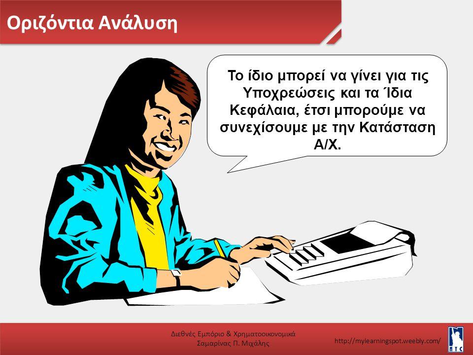 Οριζόντια Ανάλυση Διεθνές Εμπόριο & Χρηματοοικονομικά Σαμαρίνας Π. Μιχάλης http://mylearningspot.weebly.com/ Το ίδιο μπορεί να γίνει για τις Υποχρεώσε