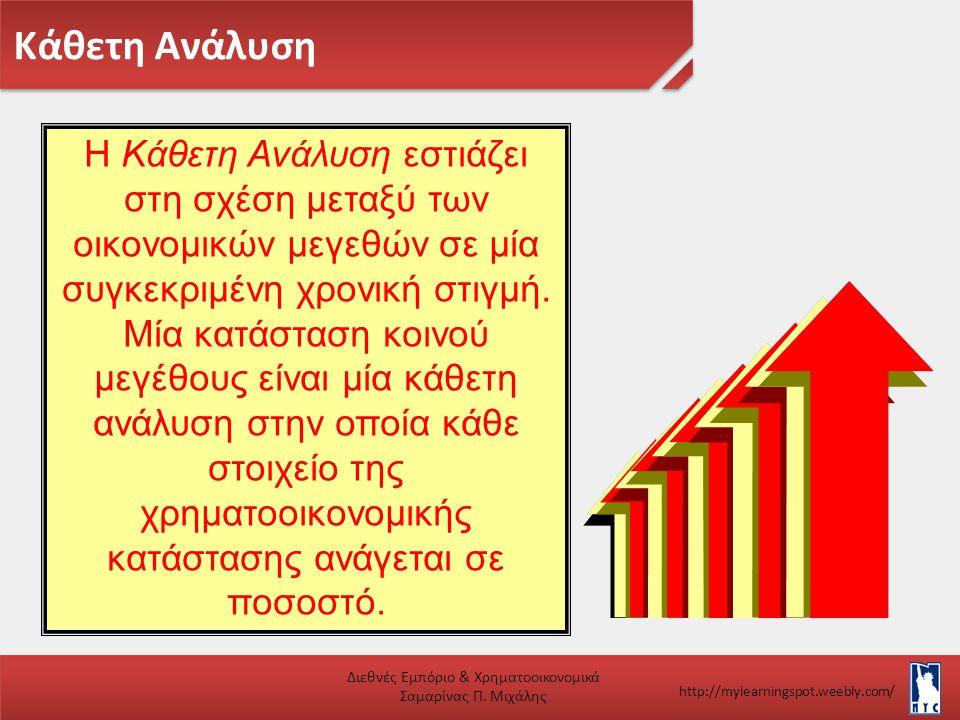 Κάθετη Ανάλυση Διεθνές Εμπόριο & Χρηματοοικονομικά Σαμαρίνας Π. Μιχάλης http://mylearningspot.weebly.com/ Η Κάθετη Ανάλυση εστιάζει στη σχέση μεταξύ τ