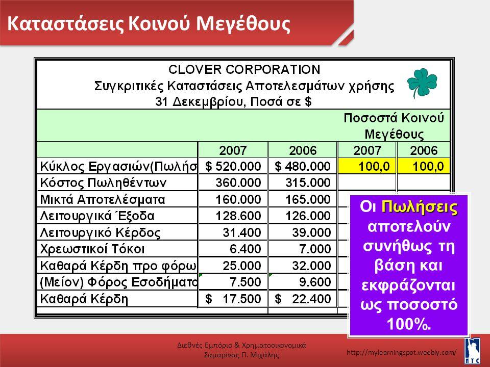Καταστάσεις Κοινού Μεγέθους Διεθνές Εμπόριο & Χρηματοοικονομικά Σαμαρίνας Π. Μιχάλης http://mylearningspot.weebly.com/ Πωλήσεις Οι Πωλήσεις αποτελούν