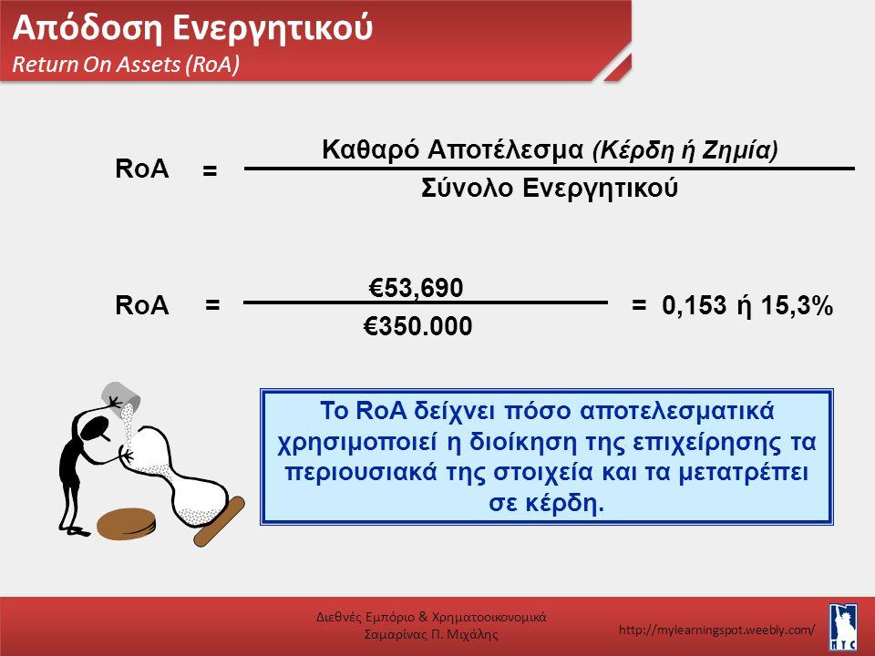 Απόδοση Ενεργητικού Return On Assets (RoA) Διεθνές Εμπόριο & Χρηματοοικονομικά Σαμαρίνας Π. Μιχάλης http://mylearningspot.weebly.com/ Το RoA δείχνει π