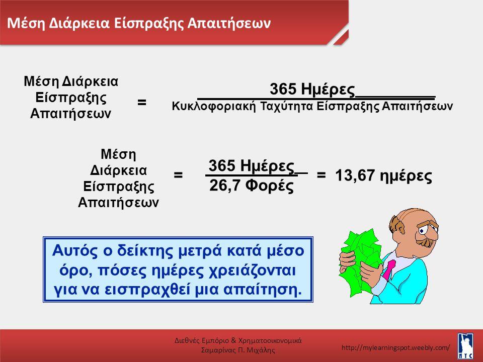 Μέση Διάρκεια Είσπραξης Απαιτήσεων Διεθνές Εμπόριο & Χρηματοοικονομικά Σαμαρίνας Π. Μιχάλης http://mylearningspot.weebly.com/ Μέση Διάρκεια Είσπραξης