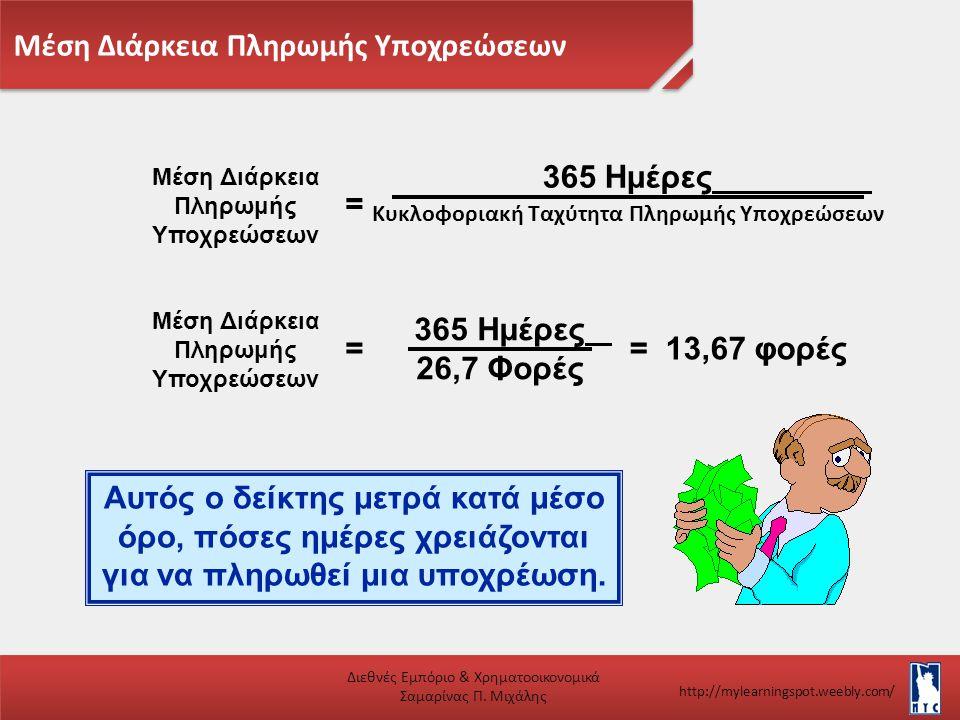 Μέση Διάρκεια Πληρωμής Υποχρεώσεων Διεθνές Εμπόριο & Χρηματοοικονομικά Σαμαρίνας Π. Μιχάλης http://mylearningspot.weebly.com/ Μέση Διάρκεια Πληρωμής Υ