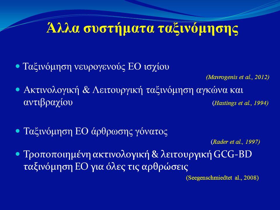 Άλλα συστήματα ταξινόμησης  Ταξινόμηση νευρογενούς ΕΟ ισχίου (Mavrogenis et al., 2012)  Ακτινολογική & Λειτουργική ταξινόμηση αγκώνα και αντιβραχίου (Hastings et al., 1994)  Ταξινόμηση ΕΟ άρθρωσης γόνατος (Rader et al., 1997)  Τροποποιημένη ακτινολογική & λειτουργική GCG-BD ταξινόμηση ΕΟ για όλες τις αρθρώσεις (Seegenschmiedtet al., 2008)