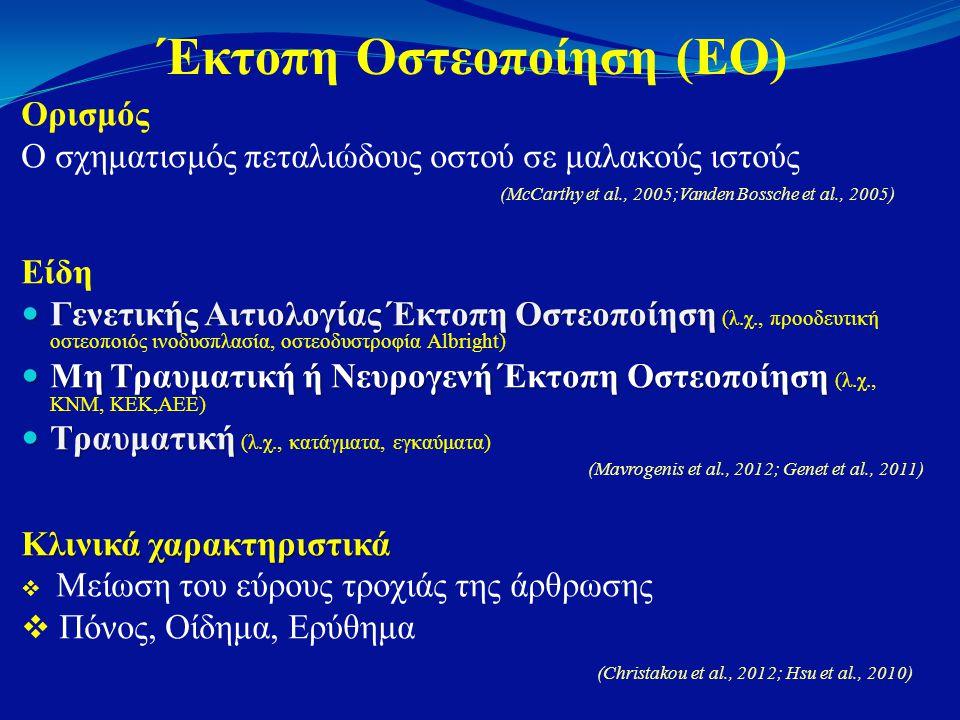 Έκτοπη Οστεοποίηση (ΕΟ) Ορισμός Ο σχηματισμός πεταλιώδους οστού σε μαλακούς ιστούς (McCarthy et al., 2005;Vanden Bossche et al., 2005) Είδη  Γενετικής Αιτιολογίας Έκτοπη Οστεοποίηση  Γενετικής Αιτιολογίας Έκτοπη Οστεοποίηση (λ.χ., προοδευτική οστεοποιός ινοδυσπλασία, οστεοδυστροφία Albright)  Μη Τραυματική ή Νευρογενή Έκτοπη Οστεοποίηση  Μη Τραυματική ή Νευρογενή Έκτοπη Οστεοποίηση (λ.χ., ΚΝΜ, ΚΕΚ,ΑΕΕ)  Τραυματική  Τραυματική (λ.χ., κατάγματα, εγκαύματα) (Mavrogenis et al., 2012; Genet et al., 2011) Κλινικά χαρακτηριστικά  Μείωση του εύρους τροχιάς της άρθρωσης  Πόνος, Οίδημα, Ερύθημα (Christakou et al., 2012; Hsu et al., 2010)