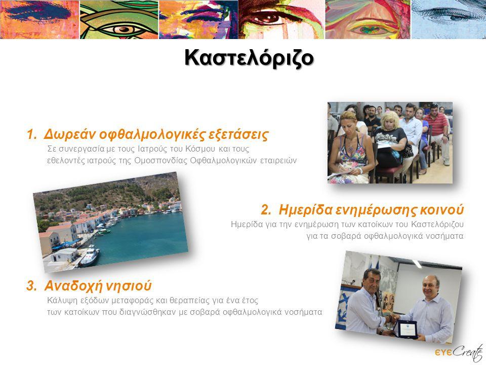 Καστελόριζο 1.Δωρεάν οφθαλμολογικές εξετάσεις Σε συνεργασία με τους Ιατρούς του Κόσμου και τους εθελοντές ιατρούς της Ομοσπονδίας Οφθαλμολογικών εταιρειών 2.Ημερίδα ενημέρωσης κοινού Ημερίδα για την ενημέρωση των κατοίκων του Καστελόριζου για τα σοβαρά οφθαλμολογικά νοσήματα 3.Αναδοχή νησιού Κάλυψη εξόδων μεταφοράς και θεραπείας για ένα έτος των κατοίκων που διαγνώσθηκαν με σοβαρά οφθαλμολογικά νοσήματα