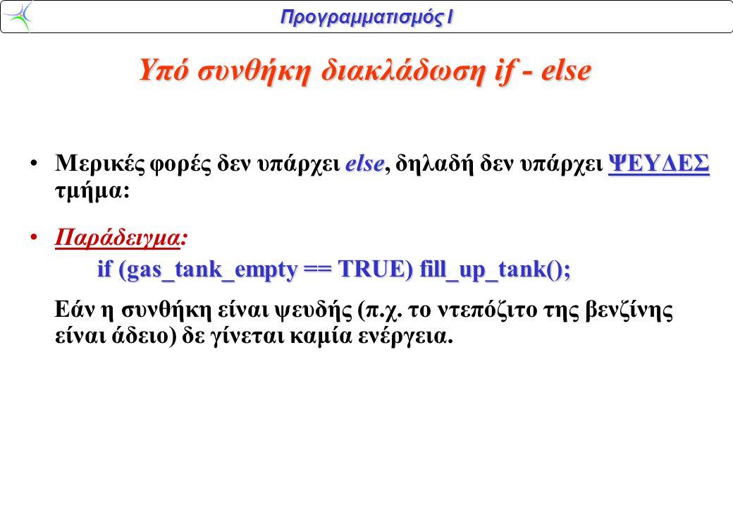 Προγραμματισμός Ι elseΨΕΥΔΕΣ •Μερικές φορές δεν υπάρχει else, δηλαδή δεν υπάρχει ΨΕΥΔΕΣ τμήμα: •Παράδειγμα: if (gas_tank_empty == TRUE) fill_up_tank(); Εάν η συνθήκη είναι ψευδής (π.χ.