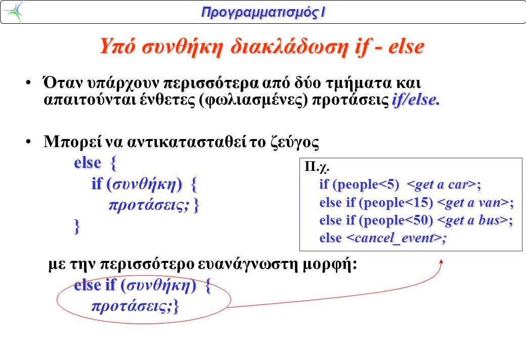 Προγραμματισμός Ι περισσότερα if/else.
