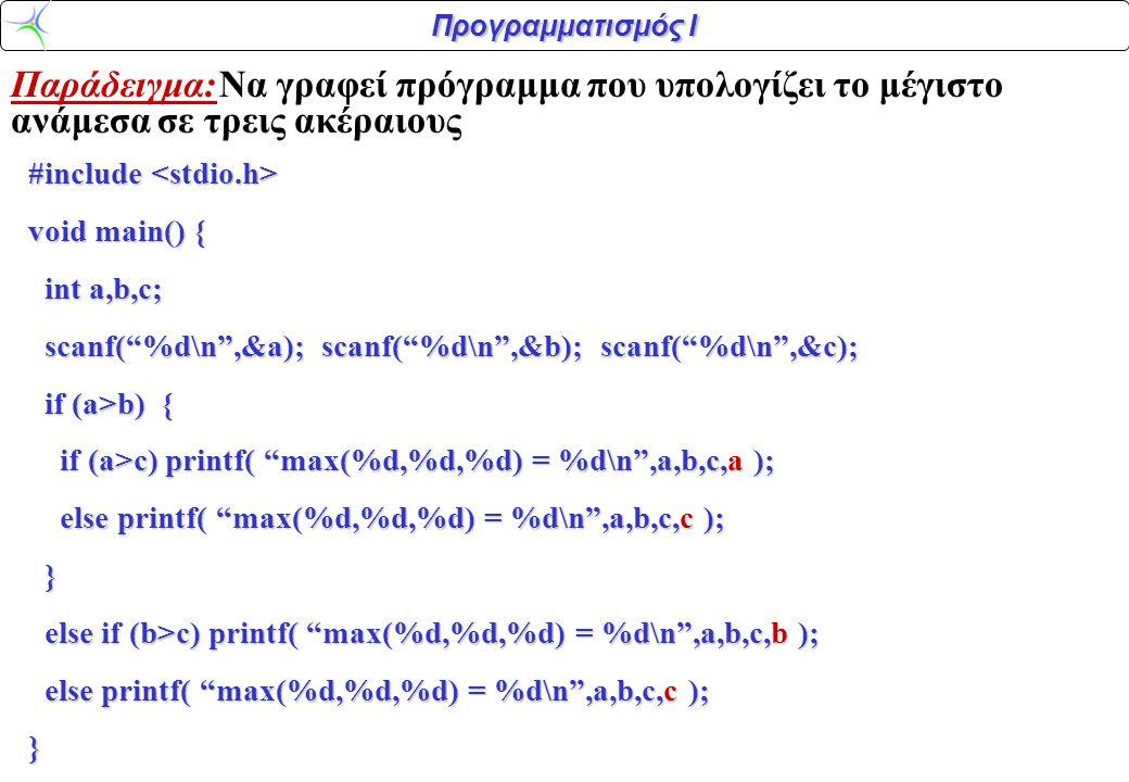 Προγραμματισμός Ι Παράδειγμα:Να γραφεί πρόγραμμα που υπολογίζει το μέγιστο ανάμεσα σε τρεις ακέραιους #include #include void main() { int a,b,c; int a,b,c; scanf( %d\n ,&a); scanf( %d\n ,&b); scanf( %d\n ,&c); scanf( %d\n ,&a); scanf( %d\n ,&b); scanf( %d\n ,&c); if (a>b) { if (a>b) { if (a>c) printf( max(%d,%d,%d) = %d\n ,a,b,c,a ); if (a>c) printf( max(%d,%d,%d) = %d\n ,a,b,c,a ); else printf( max(%d,%d,%d) = %d\n ,a,b,c,c ); else printf( max(%d,%d,%d) = %d\n ,a,b,c,c ); } else if (b>c) printf( max(%d,%d,%d) = %d\n ,a,b,c,b ); else if (b>c) printf( max(%d,%d,%d) = %d\n ,a,b,c,b ); else printf( max(%d,%d,%d) = %d\n ,a,b,c,c ); else printf( max(%d,%d,%d) = %d\n ,a,b,c,c );}