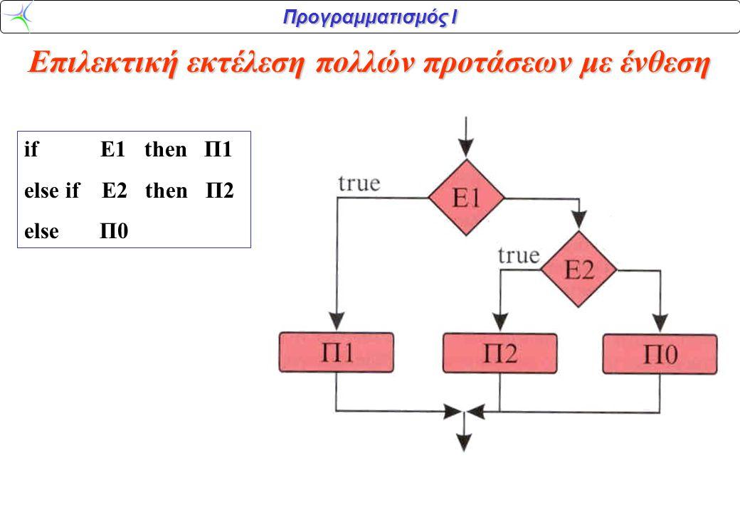 Προγραμματισμός Ι Επιλεκτική εκτέλεση πολλών προτάσεων με ένθεση if Ε1 then Π1 else if E2 then Π2 else Π0