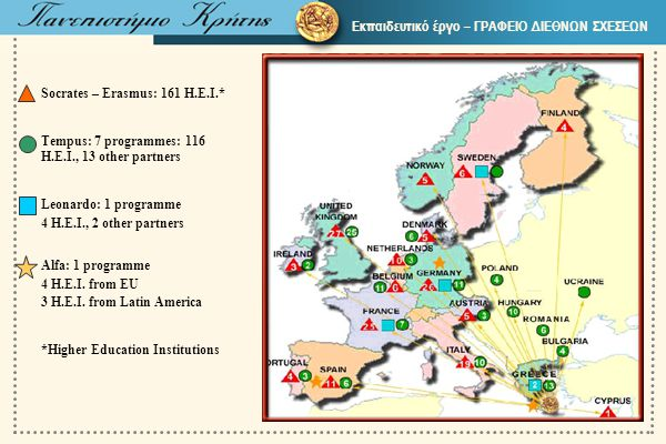 Εκπαιδευτικό έργο – ΓΡΑΦΕΙΟ ΔΙΕΘΝΩΝ ΣΧΕΣΕΩΝ Socrates – Erasmus: 161 H.E.I.* Tempus: 7 programmes: 116 H.E.I., 13 other partners Leonardo: 1 programme