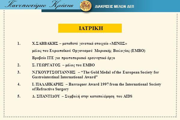 ΙΑΤΡΙΚΗ 1.Χ.ΣΑΒΒΑΚΗΣ – μεταθετό γενετικό στοιχείο «ΜΙΝΩΣ» μέλος του Ευρωπαϊκού Οργανισμού Μοριακής Βιολογίας (ΕΜΒΟ) Βραβείο ΙΤΕ για πρωτοποριακό ερευν