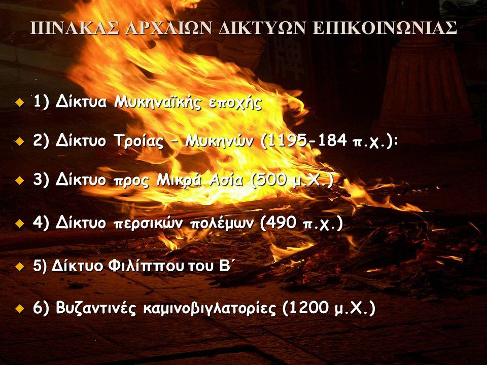 ΠΙΝΑΚΑΣ ΑΡΧΑΙΩΝ ΔΙΚΤΥΩΝ ΕΠΙΚΟΙΝΩΝΙΑΣ  1) Δίκτυα Μυκηναϊκής εποχής  2) Δίκτυο Τροίας – Μυκηνών (1195-184 π.χ.):  3) Δίκτυο προς Μικρά Ασία (500 μ.Χ.