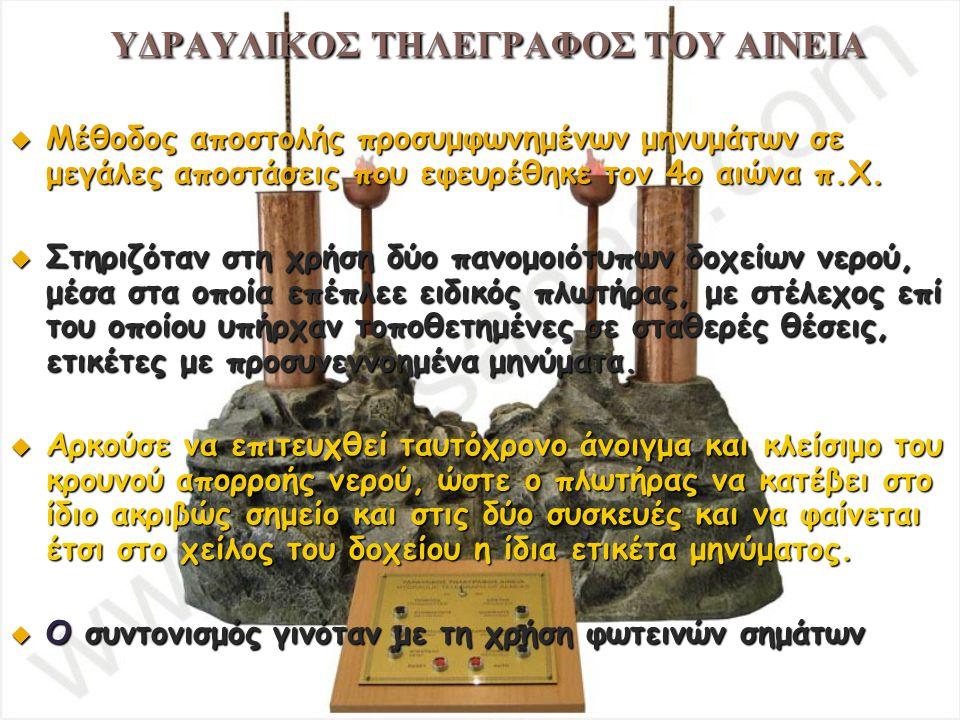 ΥΔΡΑΥΛΙΚΟΣ ΤΗΛΕΓΡΑΦΟΣ ΤΟΥ ΑΙΝΕΙΑ  Μέθοδος αποστολής προσυμφωνημένων μηνυμάτων σε μεγάλες αποστάσεις που εφευρέθηκε τον 4ο αιώνα π.Χ.  Στηριζόταν στη