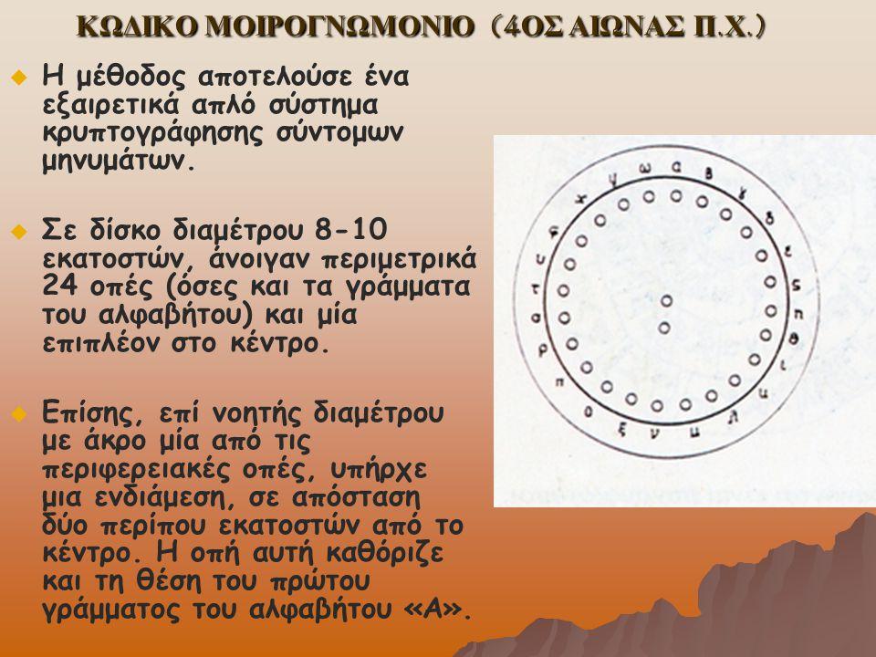 ΚΩΔΙΚΟ ΜΟΙΡΟΓΝΩΜΟΝΙΟ (4ΟΣ ΑΙΩΝΑΣ Π.Χ.) ΚΩΔΙΚΟ ΜΟΙΡΟΓΝΩΜΟΝΙΟ (4ΟΣ ΑΙΩΝΑΣ Π.Χ.)   Η μέθοδος αποτελούσε ένα εξαιρετικά απλό σύστημα κρυπτογράφησης σύντ