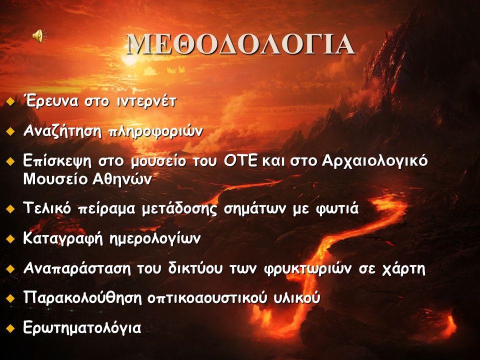 ΜΕΘΟΔΟΛΟΓΙΑ  Έρευνα στο ιντερνέτ  Αναζήτηση πληροφοριών  Επίσκεψη σ το μουσείο του ΟΤΕ και στο Αρχαιολογικό Μουσείο Αθηνών  Τελικό πείραμα μετάδοσ