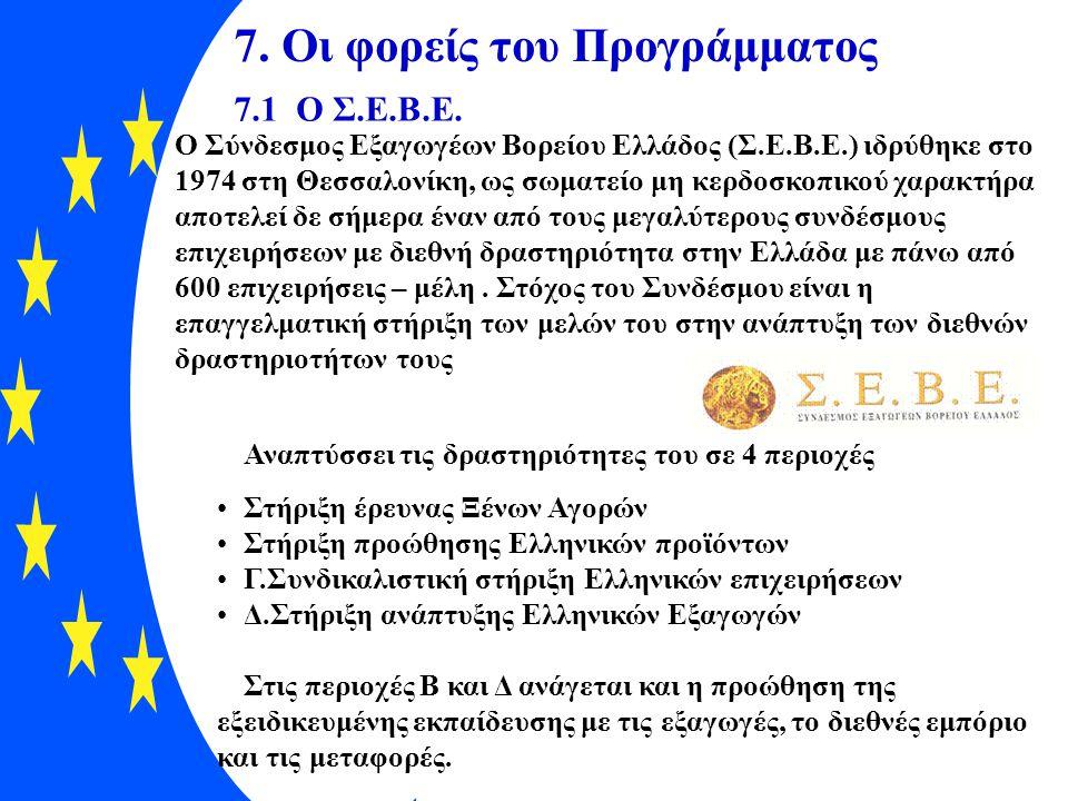 7. Οι φορείς του Προγράμματος 7.1 Ο Σ.Ε.Β.Ε. Ο Σύνδεσμος Εξαγωγέων Βορείου Ελλάδος (Σ.Ε.Β.Ε.) ιδρύθηκε στο 1974 στη Θεσσαλονίκη, ως σωματείο μη κερδοσ