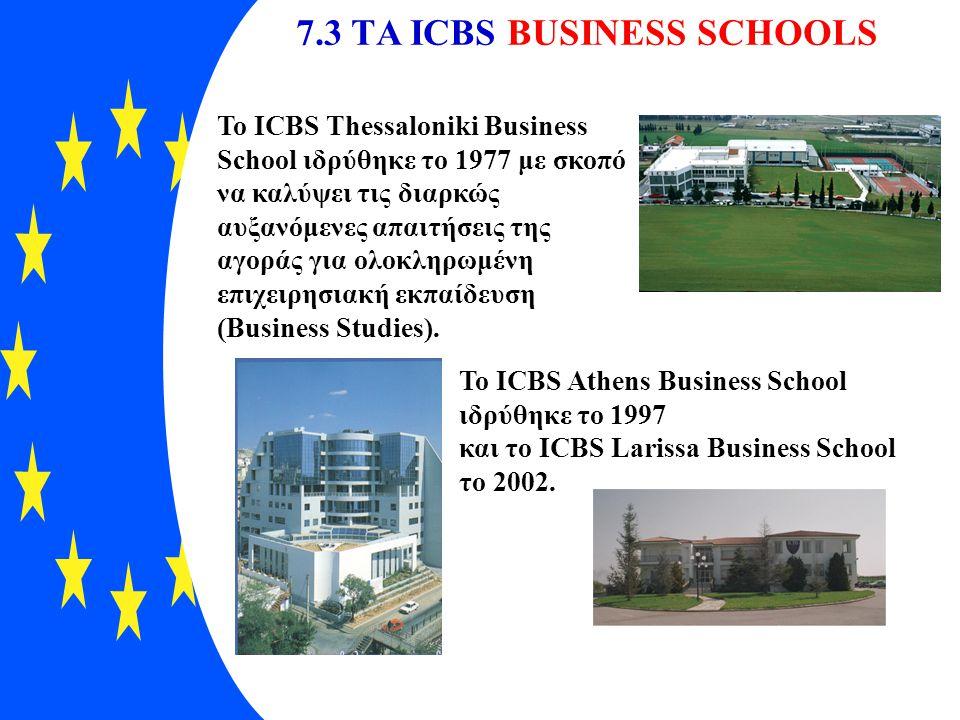 7.3 TΑ ICBS BUSINESS SCHOOLS To ICBS Thessaloniki Business School ιδρύθηκε το 1977 με σκοπό να καλύψει τις διαρκώς αυξανόμενες απαιτήσεις της αγοράς γ