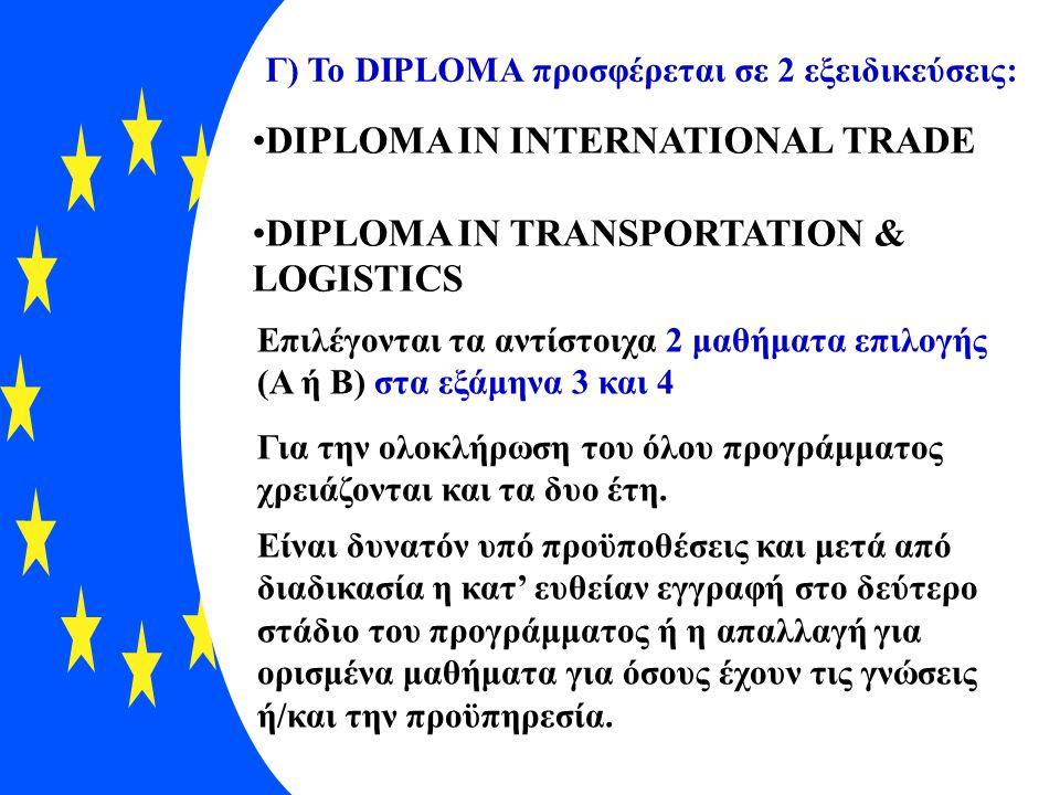 Γ) Το DIPLOMA προσφέρεται σε 2 εξειδικεύσεις: •DIPLOMA IN INTERNATIONAL TRADE •DIPLOMA IN TRANSPORTATION & LOGISTICS Επιλέγονται τα αντίστοιχα 2 μαθήμ