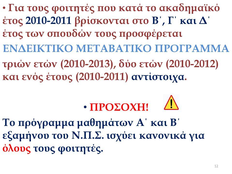• Για τους φοιτητές που κατά το ακαδημαϊκό έτος 2010-2011 βρίσκονται στο Β΄, Γ΄ και Δ΄ έτος των σπουδών τους προσφέρεται ΕΝΔΕΙΚΤΙΚΟ ΜΕΤΑΒΑΤΙΚΟ ΠΡΟΓΡΑΜΜΑ τριών ετών (2010-2013), δύο ετών (2010-2012) και ενός έτους (2010-2011) αντίστοιχα.