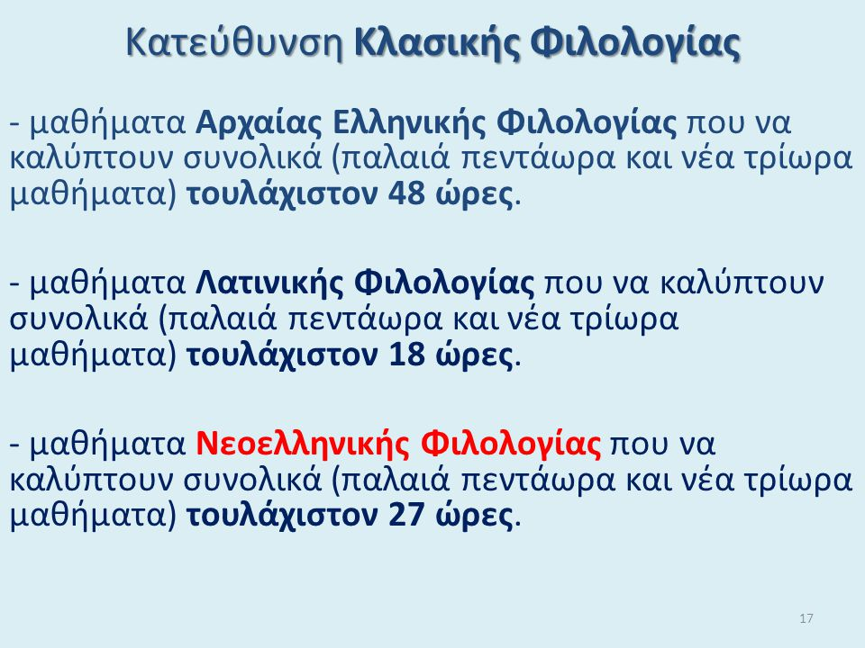 Κατεύθυνση Κλασικής Φιλολογίας - μαθήματα Αρχαίας Ελληνικής Φιλολογίας που να καλύπτουν συνολικά (παλαιά πεντάωρα και νέα τρίωρα μαθήματα) τουλάχιστον 48 ώρες.