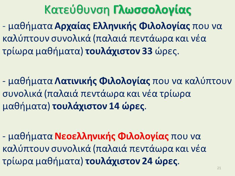 Κατεύθυνση Γλωσσολογίας - μαθήματα Αρχαίας Ελληνικής Φιλολογίας που να καλύπτουν συνολικά (παλαιά πεντάωρα και νέα τρίωρα μαθήματα) τουλάχιστον 33 ώρες.