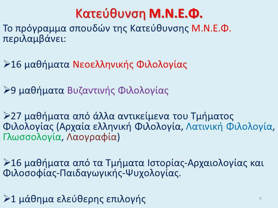 Κατεύθυνση Μ.Ν.Ε.Φ. Το πρόγραμμα σπουδών της Κατεύθυνσης Μ.Ν.Ε.Φ.