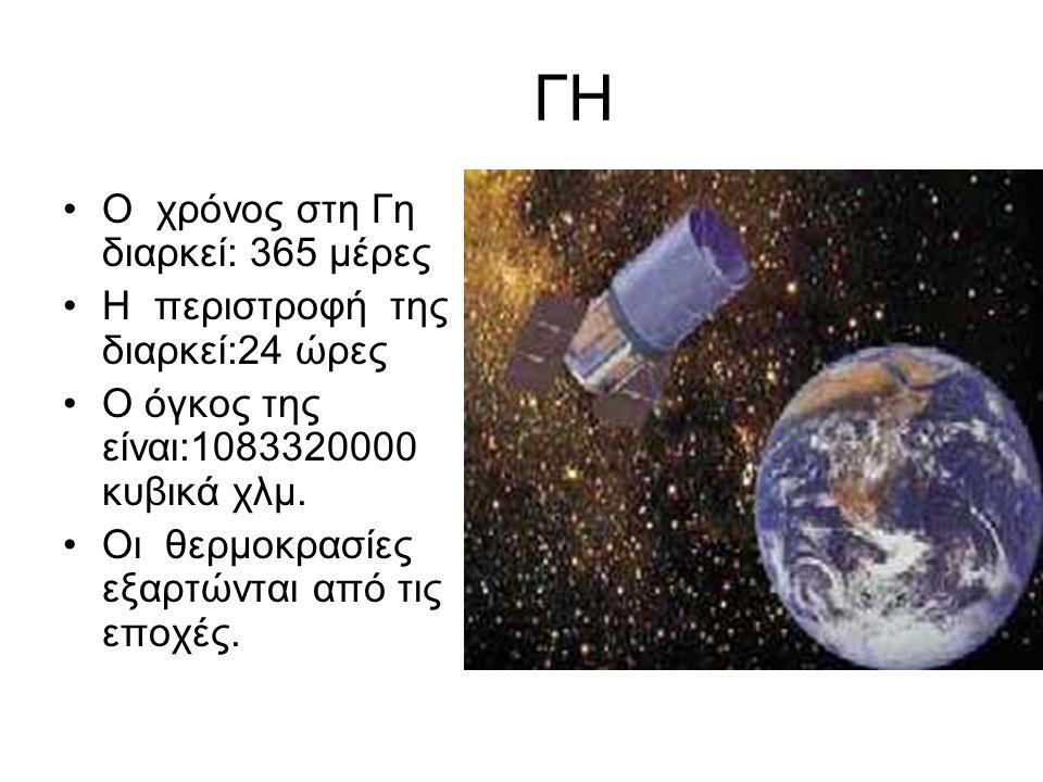 ΓΗ •Ο χρόνος στη Γη διαρκεί: 365 μέρες •Η περιστροφή της διαρκεί:24 ώρες •Ο όγκος της είναι:1083320000 κυβικά χλμ. •Οι θερμοκρασίες εξαρτώνται από τις