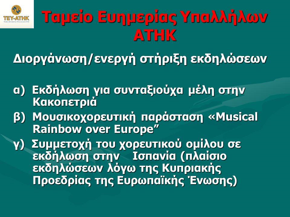 Ταμείο Ευημερίας Υπαλλήλων ΑΤΗΚ Διοργάνωση/ενεργή στήριξη εκδηλώσεων α) Εκδήλωση για συνταξιούχα μέλη στην Κακοπετριά β) Μουσικοχορευτική παράσταση «M