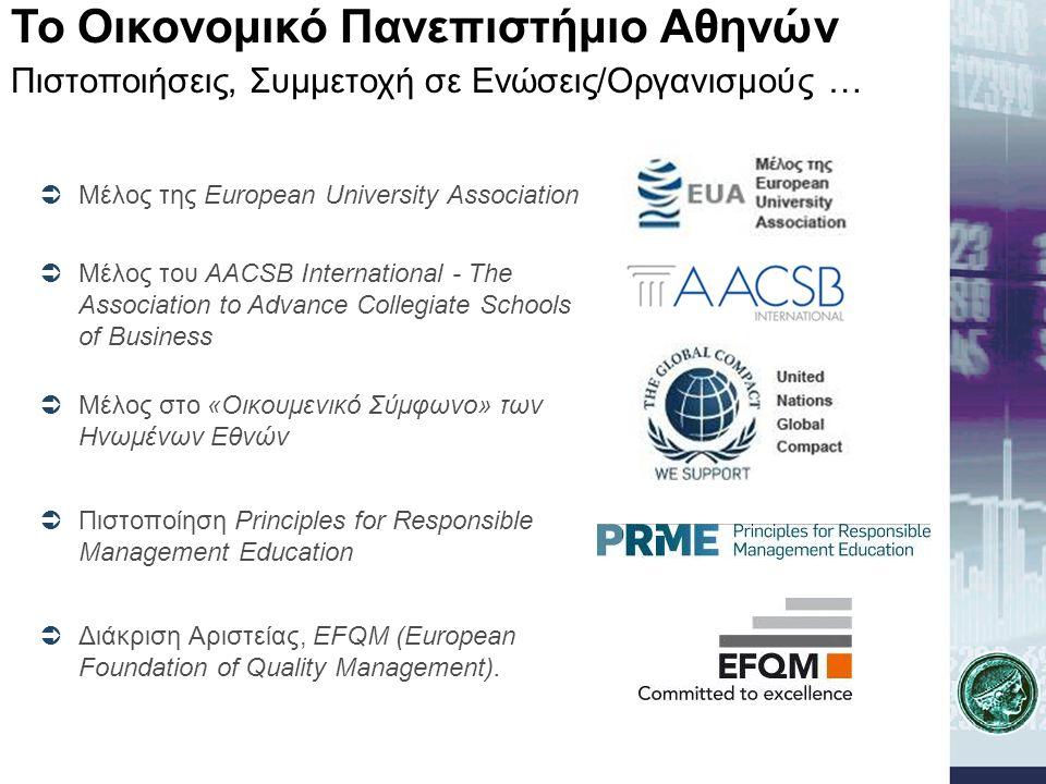  Μέλος της European University Association  Μέλος του AACSB International - The Association to Advance Collegiate Schools of Business  Μέλος στο «Ο
